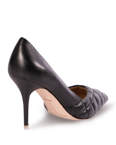 Image 3 of 3: Black Suede Studio Dana Quilted Leather Stiletto Pumps