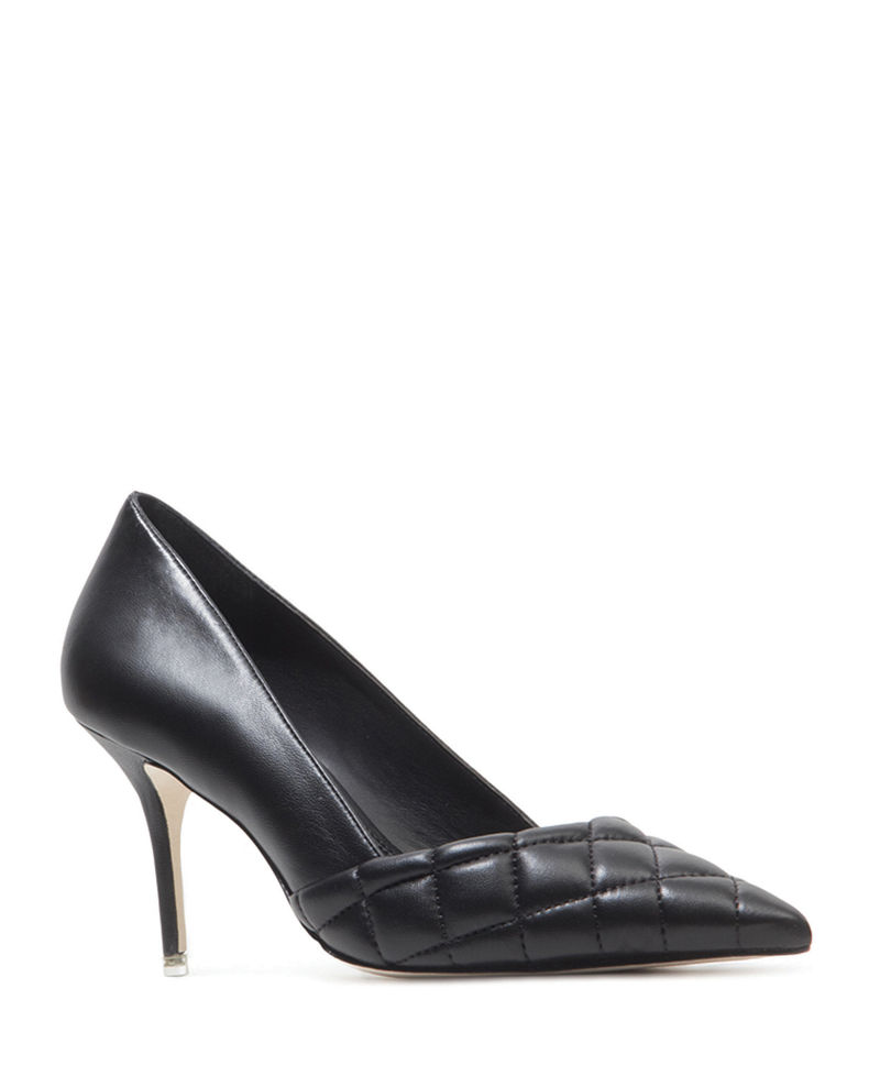 Black Suede Studio Dana Quilted Leather Stiletto Pumps