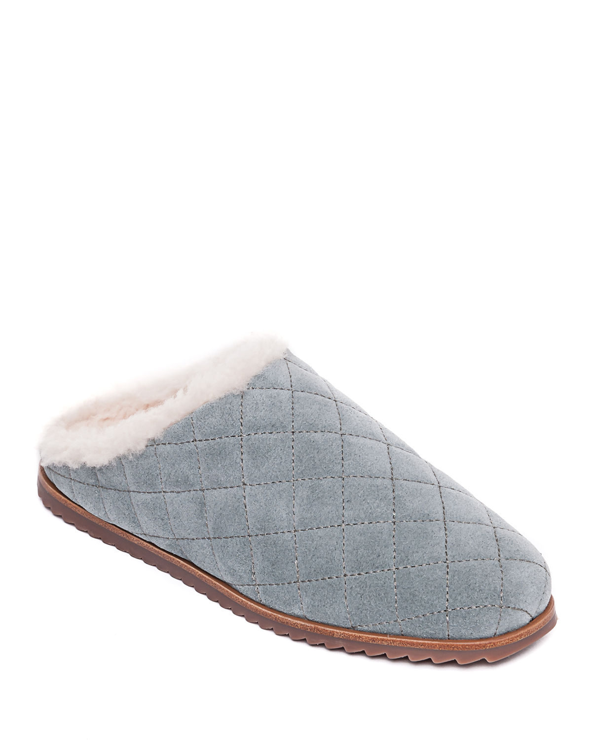 Quilted Suede Shearling Slippers
