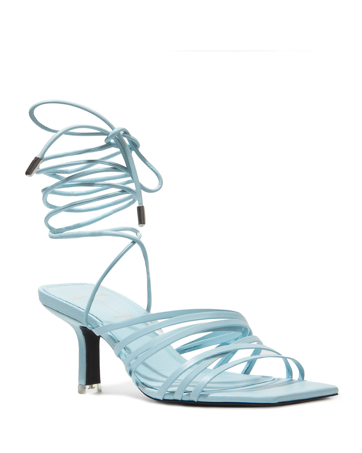 Franca Calfskin Strappy Ankle-Tie Sandals