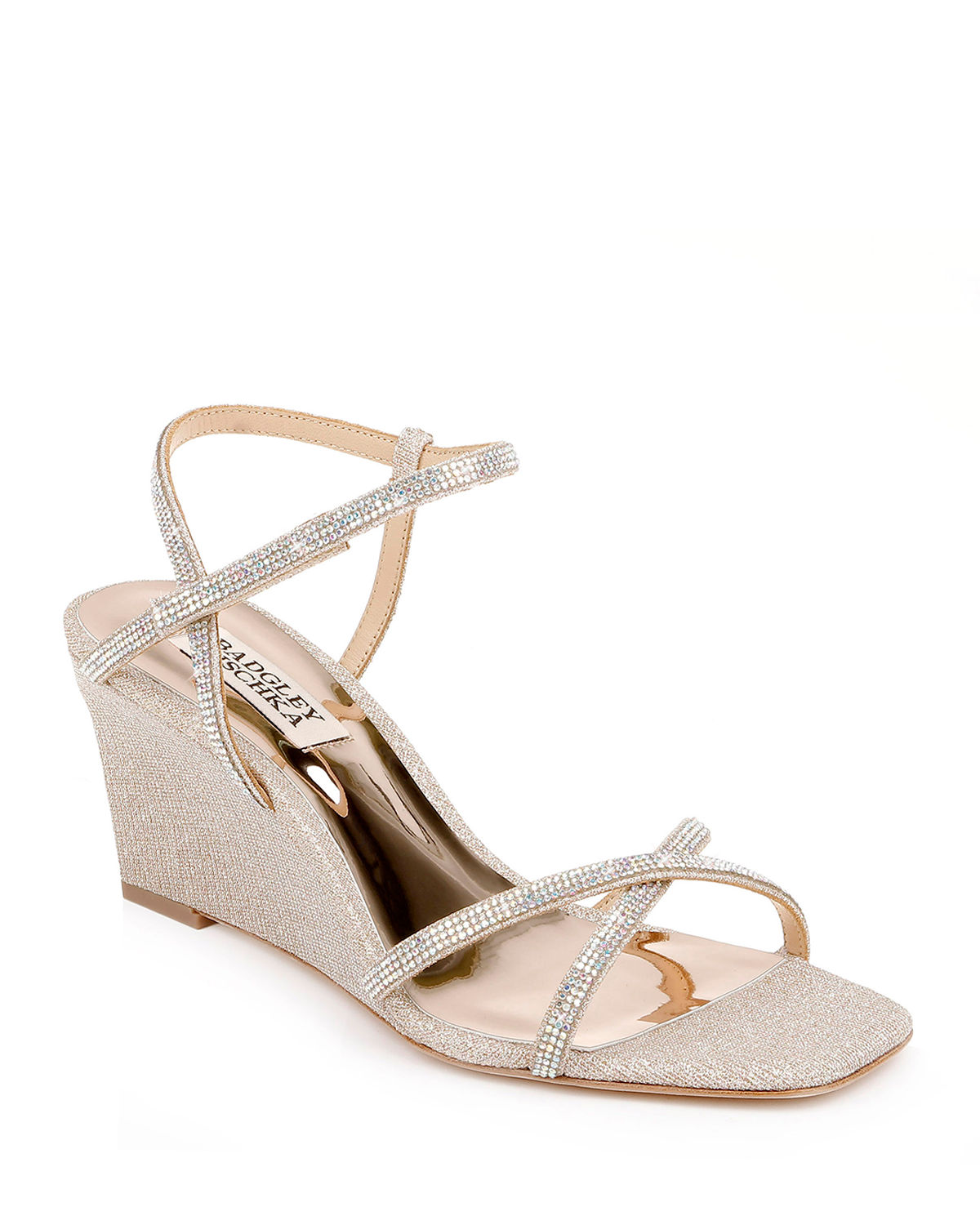 Badgley Mischka REAGAN STRASS CRISSCROSS WEDGE SANDALS