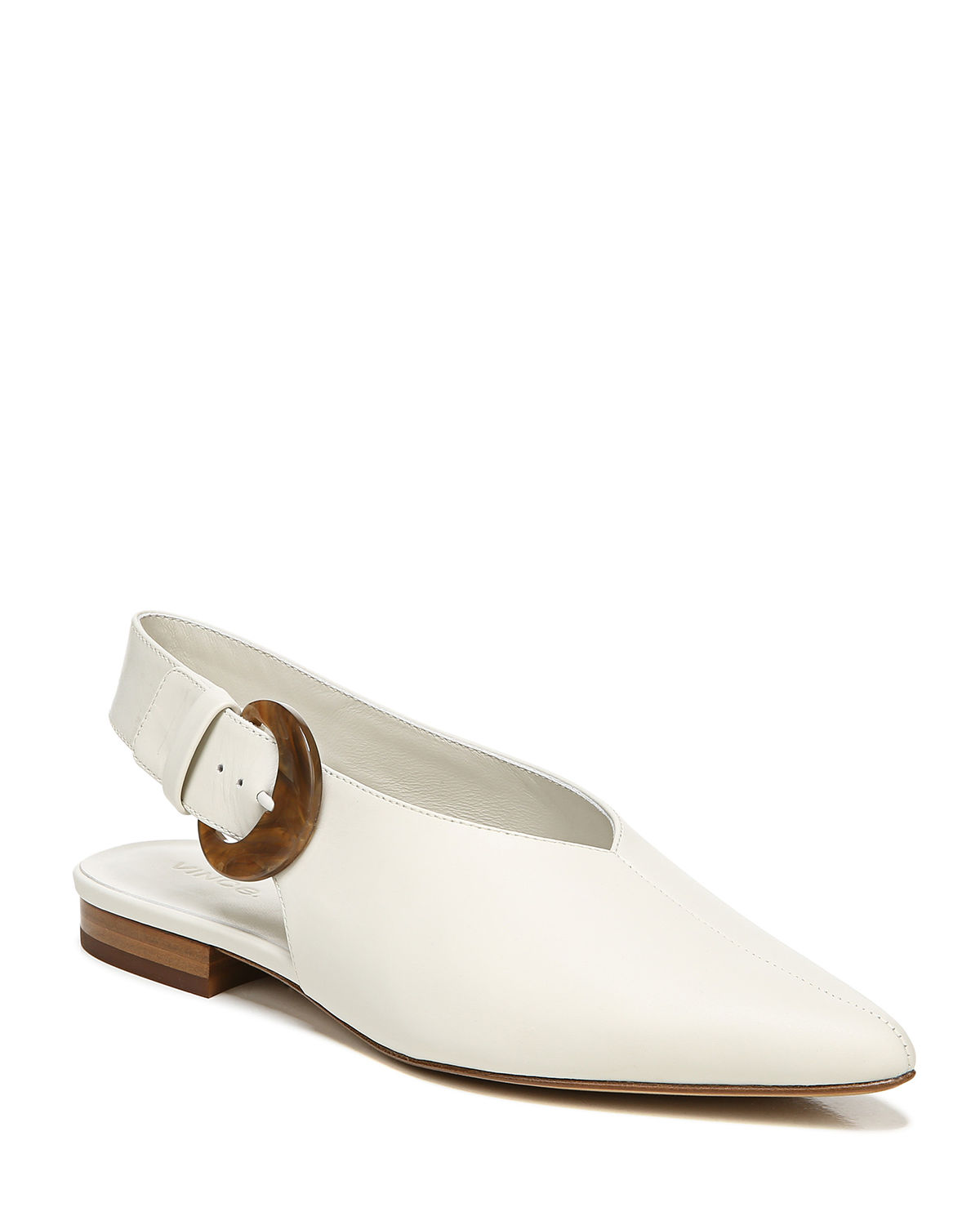 Vince Flats CECILY POINTED LEATHER BUCKLE FLATS