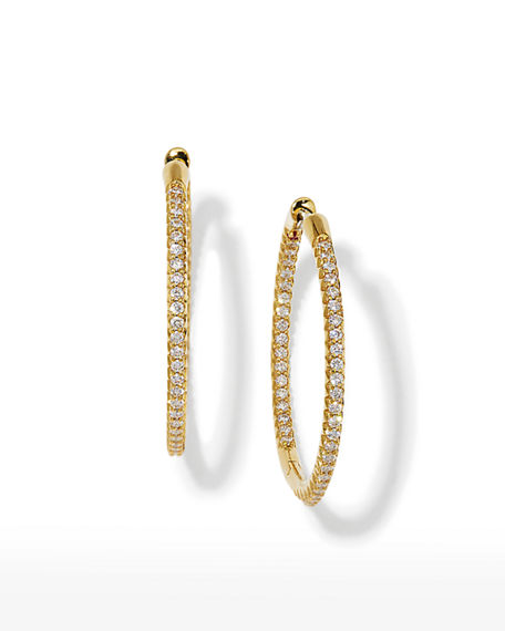 Roberto Coin 30mm Micro Pave Diamond Hoop Earrings in 18K Yellow Gold
