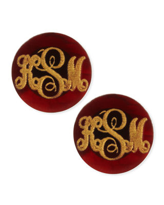 Moon & Lola Providence Script Monogrammed Acrylic Stud Earrings