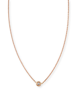 Image 1 of 3: 18k Gold Single Diamond Necklace