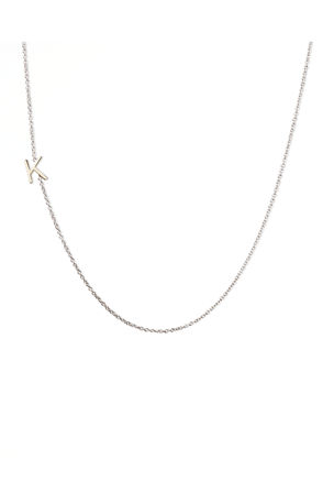 Choice of Chains Sterling Silver Square Cut Sterling Silver Script Initial and Name Pendant Necklace Personalized Center Monogram and Names 14k Gold Plate or Rose Gold Plate over Sterling Silver
