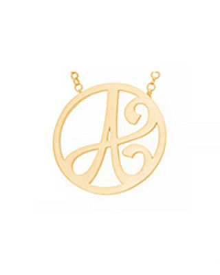 Image 3 of 3: Mini Single Initial Necklace, Yellow Gold, 18""