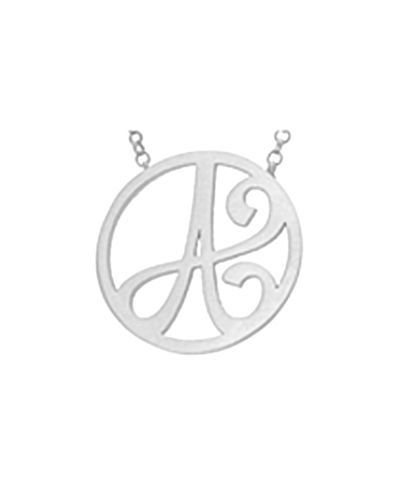 Mini Single Initial Necklace, Rhodium Silver, 18""