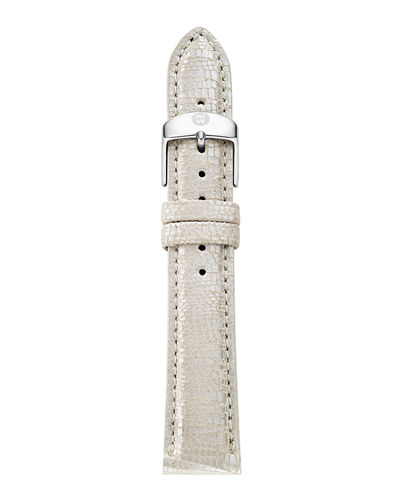 MICHELE 18mm Metallic Saffiano Leather Strap
