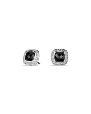 Albion Stud Earrings With Prasiolite And Diamonds in Black Onyx
