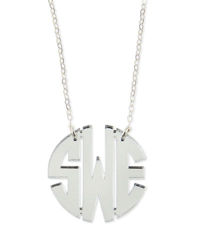 Mirrored Acrylic Monogram Pendant Necklace