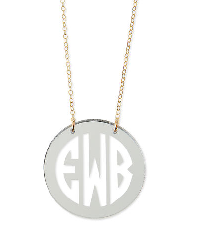 Mirrored Acrylic Reverse Monogram Pendant Necklace
