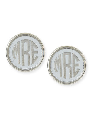 Moon & Lola Vineyard Round Monogram Block Earrings