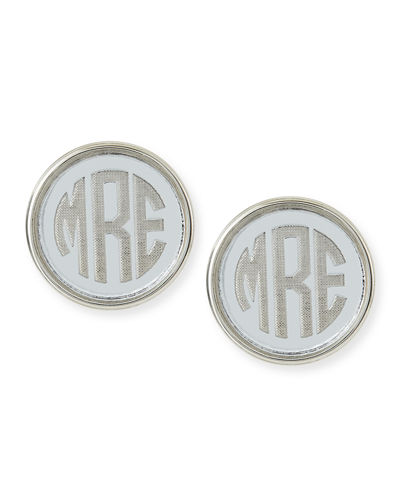 Vineyard Round Monogram Block Earrings