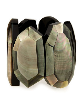 Image 1 of 3: Faceted Mother-of-Pearl Stretch Bracelet