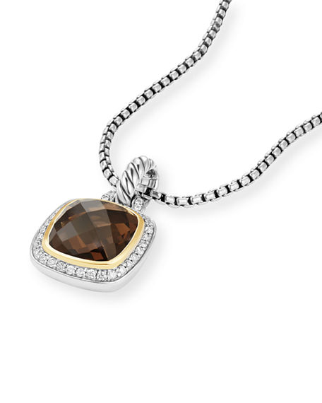 Image 3 of 4: David Yurman 11mm Albion Smoky Quartz Enhancer w/ Diamonds, 18k Gold