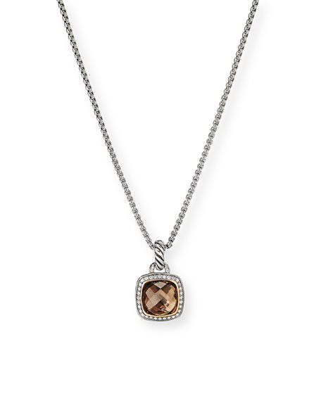 Image 1 of 4: David Yurman 11mm Albion Smoky Quartz Enhancer w/ Diamonds, 18k Gold