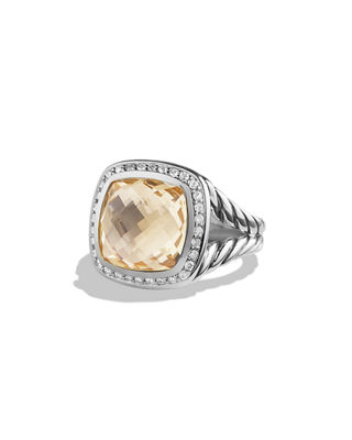 11mm Albion Faceted Citrine Ring w/Diamonds