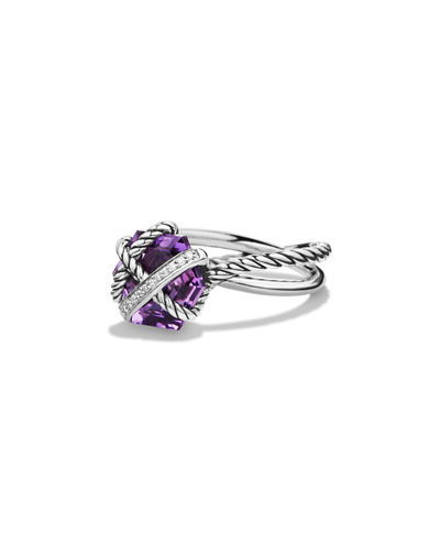 Cable Wrap Ring with Semiprecious Stone and Diamonds