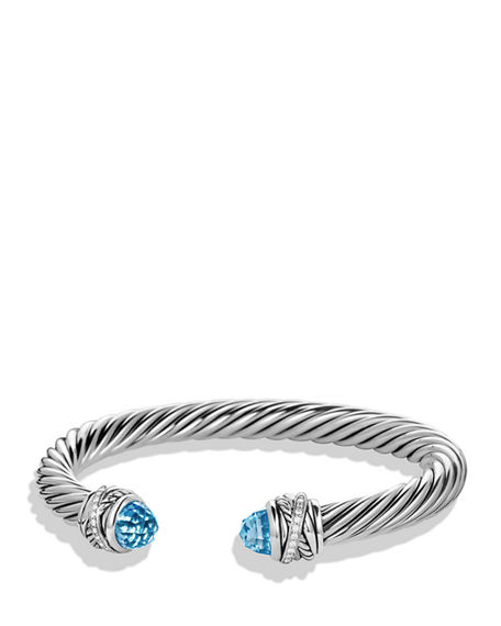 David Yurman Crossover Bracelet With Diamonds And Blue Topaz In Silver