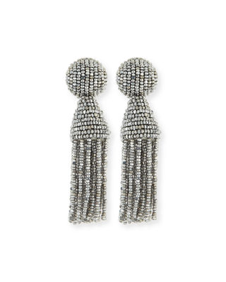 Beaded Short Tassel Clip Earrings
