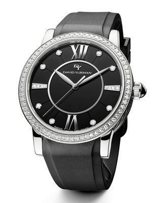 David Yurman 38mm Ceramic Diamond Watch w/Rubber Strap,