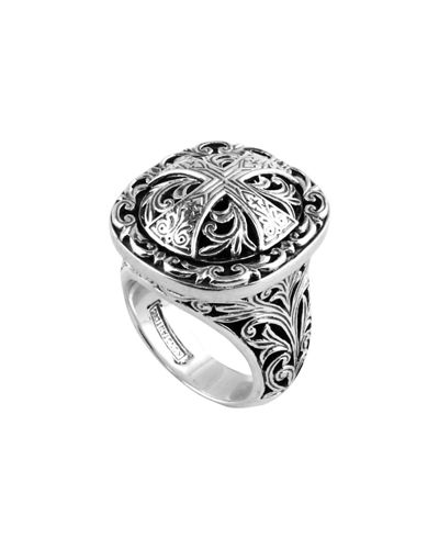 Sterling Silver Etched Cross Ring