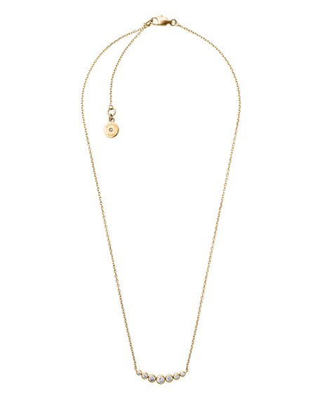 kors monogram product gold extender necklace mystore pendant mk michael tone