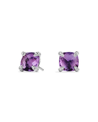 amethyst silver item sterling earrings solid natural round stud simple design