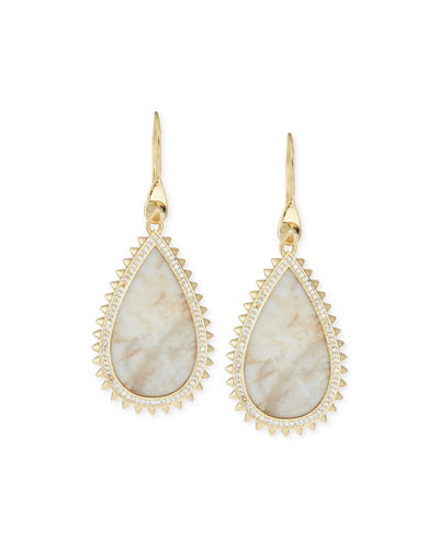White Lace Agate Teardrop Earrings