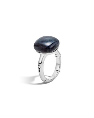 Bamboo 14mm Sterling Silver Cushion Ring