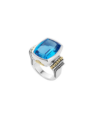 18K Gold And Sterling Silver Caviar Color Medium Ring With Swiss Blue Topaz