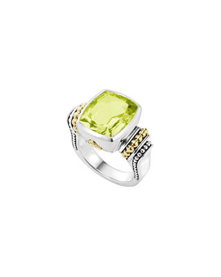 18K GOLD AND STERLING SILVER CAVIAR COLOR MEDIUM RING WITH GREEN QUARTZ