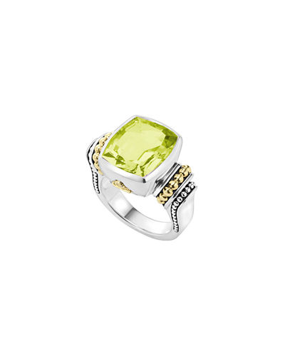 14mm Caviar Color Faceted Caviar Ring, Size 7