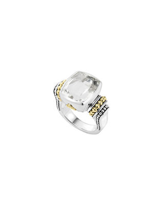 18K Gold And Sterling Silver Caviar Color Medium Ring With White Topaz