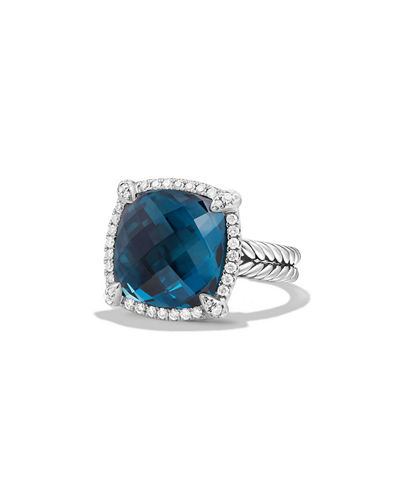 14mm Châtelaine Hampton Blue Topaz Ring with Diamonds