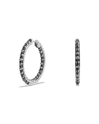 David Yurman Cable Berries Faceted Hematine Hoop Earrings