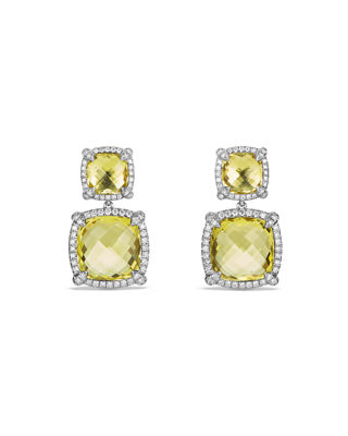 David Yurman Ch??telaine Double-Drop Earrings with Diamonds