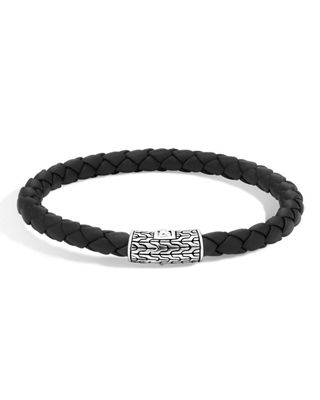 Classic Chain Silver Round Woven Bracelet on Leather Cord