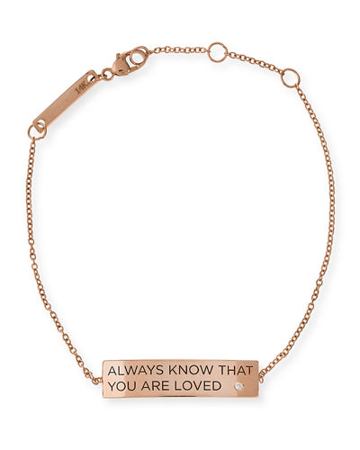 Always Know That You Are Loved 14K Gold ID Bracelet with Diamond