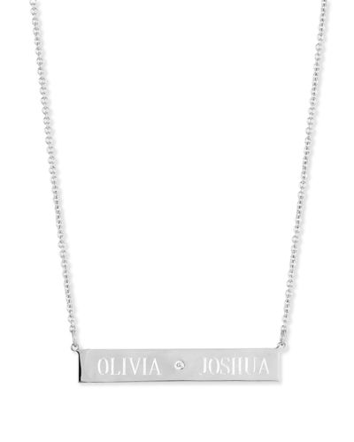 Sarah chloe leigh engraved bar pendant necklace with diamond aloadofball Choice Image
