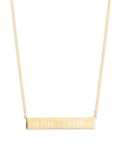 Image 1 of 4: Sarah Chloe Leigh Engraved Bar Pendant Necklace with Diamond