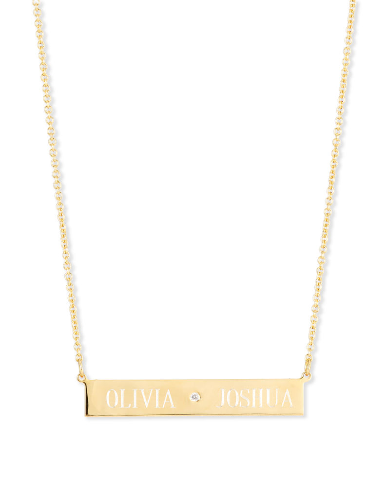 Sarah Chloe Leigh Engraved Bar Pendant Necklace with Diamond