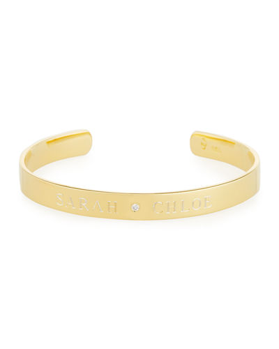 6mm Ciela Duo Name Cuff Bracelet with Diamond