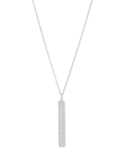 Leigh Engraved Vertical Bar Pendant Necklace with Diamond
