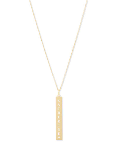 Gold bar necklace neiman marcus quick look sarah chloe leigh engraved vertical bar pendant necklace mozeypictures Images