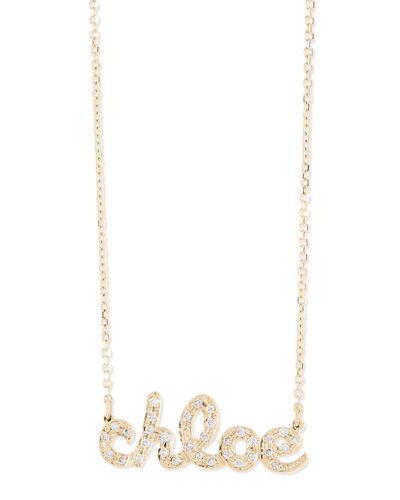 Sarah Chloe Ava Petite Diamond Name Pendant Necklace