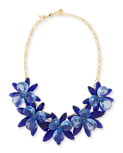 crystal flower statement necklace