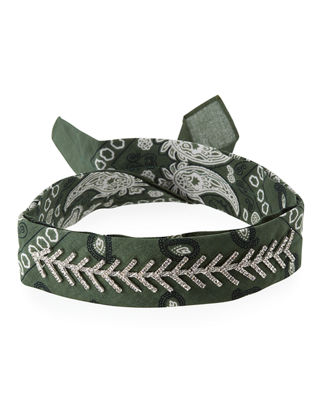 Fallon Monarch Crystal-Trimmed Bandana Choker