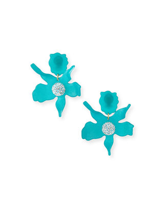 LELE SADOUGHI Crystal Lily Clip-On Earrings in Lagoon Blue